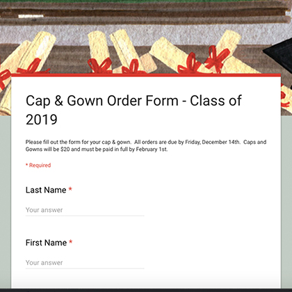 Cap & Gown Order Form