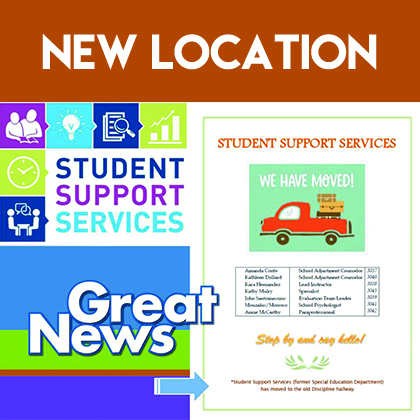 Student Support Services Department NEW LOCATION